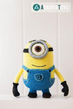 Crochet Pattern of yellow monster with one eye von Aradiya auf Etsy
