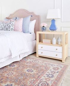 We love all of the delicate details in this stylish, feminine bedroom by Caitlin Wilson Design. Pictured is our Hattie side table in Natural. Contemporary Bedroom, Modern Bedroom, Bedroom Decor, Bedroom Ideas, Master Bedroom, Master Suite, Single Bedroom, Budget Bedroom, Bedroom Wardrobe