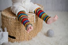 Infant leg warmers. Wool Leg warmers in rainbow colors - orange, green, yellow, turquoise, pinka and brown colors. Using these leg warmers to change