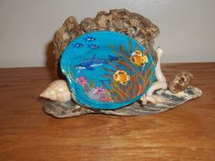 Dolphin Picture Acrylic Hand Painted on Seashell Sculpture via Etsy
