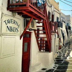 Tavern Nikos on a Greek Island Alley