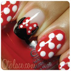 Most popular tags for this image include: disney, nail art, minnie mouse and nails Love Nails, How To Do Nails, Pretty Nails, Fun Nails, Style Nails, Gorgeous Nails, Minnie Mouse Nail Art, Mickey Mouse Nails, Simple Nail Art Designs