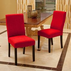 Heath Red Fabric Dining Chairs (Set of 2)