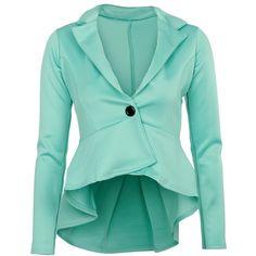 Mint Peplum Blazer (2630 RSD) ❤ liked on Polyvore featuring outerwear, jackets, blazers, tops, coats, blue blazer jacket, mint green blazer, mint jacket, peplum blazer and blue peplum blazer