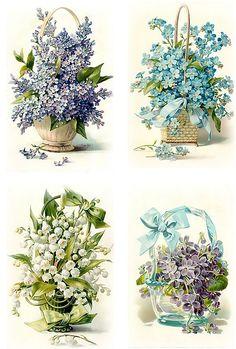 Vintage Diy, Decoupage Vintage, Vintage Cards, Vintage Postcards, Vintage Images, Vintage Flowers, Vintage Floral, Decoupage Printables, Diy And Crafts