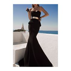 Rotita Black Sweetheart Neckline Maxi Mermaid Prom Gown ($21) ❤ liked on Polyvore featuring dresses, gowns, gown, robes, vestidos, black, black maxi dress, prom dresses, black prom gowns e black strapless dress