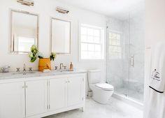White Master Bath with White Marble Chevron Floor Tiles - Transitional - Bathroom Marble Tile Bathroom, Bathroom Floor Tiles, Shower Floor, White Bathroom, Beach Design, Palm Beach, Rustic Bathroom Decor, Bathroom Ideas, Bath Ideas
