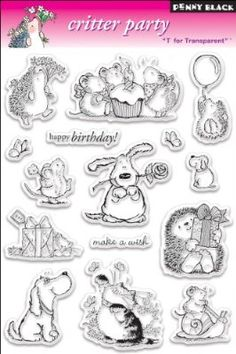 Penny Black Clear Stamp Set, Critter Party: These clear stamps are easy to use with any acrylic block (not included), and feature high- quality and affordable value. Each package contains one by sheet of clear stamps. Made in USA. Penny Black Karten, Penny Black Cards, Coloring Books, Coloring Pages, Tampons Transparents, Arts And Crafts Supplies, Ink Pads, Amazon Art, Digital Stamps