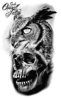 suggestion Brownie brownies v salke Owl Skull Tattoos, Owl Tattoo Drawings, Tattoo Sketches, Skull Tattoo Design, Tattoo Sleeve Designs, Sleeve Tattoos, Forearm Tattoos, Body Art Tattoos, Cool Tattoos