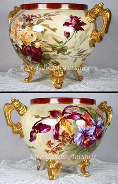 Outstanding Footed D & C Limoges France hand-painted Jardiniere with gold loop handles, roses and iris, 1894-1900