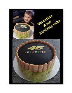 Valentino Rossi inspred birthday cake wrapped in crisp finger biscuits. Buttercream Filling, Chocolate Buttercream, Edible Printing, Vanilla Sponge, Chocolate Sponge, Themed Birthday Cakes, Valentino Rossi, Fondant, Crisp