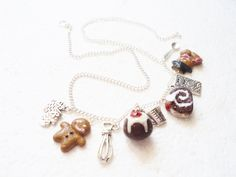Christmas Baking Necklace. Polymer Clay. by GiraffesKiss on Etsy