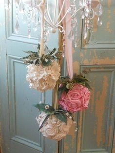Shabby chic fabric floral balls hanging from ribbon