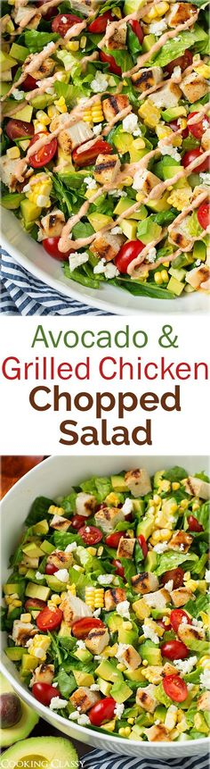 A super healthy and easy recipe to make! Avocado and Grilled Chicken Chopped Salad with Skinny Chipotle-Lime Ranch - I could eat this salad every single day! Used the left over ranch to dip chicken tenders in. - from Cooking Classy Healthy Snacks, Healthy Eating, Healthy Recipes, Avocado Dessert, Soup And Salad, Salad Recipes, Grilled Chicken, Main Dishes, Chicken Recipes