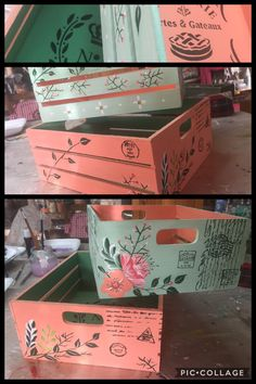 Diy Crafts For Adults, Easy Crafts, Diy And Crafts, Painted Furniture, Diy Furniture, Craft Markets, Crafty Kids, Decoupage Paper, Diy Box