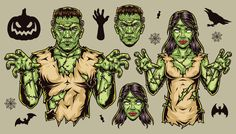 Colorful Zombie vector design illustrations. Halloween 2021 is coming!