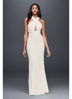 Ottomon Crisscross Halter Dress 865977