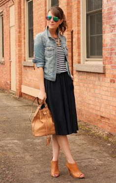 Fall fashion | Striped top under Denim jacket, pleated black midi skirt, leather handbag and matching heels