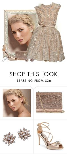 """Elie Saab dress"" by dgia ❤ liked on Polyvore featuring Smashbox, Elie Saab, Jimmy Choo, Suzanne Kalan and Badgley Mischka"