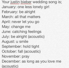 Quote this tweet with your Justin Bieber wedding song.. mine is Fall acoustic! I'm crying
