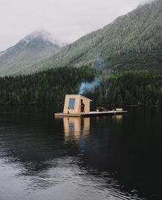 Detoxification, weightloss, muscle pain relief & clearer skin are among the many benefits of regular infrared sauna use; purchase your own Clearlight sauna! Floating Dock, Floating House, Cabana, Asheville Glamping, Floating Architecture, Shanty Boat, Sauna Design, Houseboat Living, Cabins In The Woods