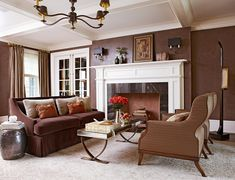 17 Stunning Ways to Decorate with a Brown Sofa Brown Couch Living Room, My Living Room, Living Room Decor, Living Spaces, Living Area, Inspiration Design, Living Room Inspiration, Design Ideas, Living Room Color Schemes