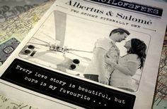 """The bridal couple, Albertus and Salomèwere featured on the front page of their newspaper wedding program, which catered for both theirAfrikaans and English-speaking wedding guests. Beneath a beautiful photo of the couple, a special quote was included: """"Every love story is beautiful, but ours is my favourite""""."""
