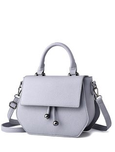 Zip PU Leather Metal Crossbody Bag - LIGHT GRAY