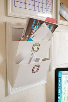 DIY Mail Organizers - Pottery Barn Knock Off Mail Sorter - Cheap and Easy Ideas for Getting Organized - Creative Home Decor on A Budget - Farmhouse, Modern and Rustic Mail Sorter, Organizer Letter Organizer, Diy Organizer, Letter Rack, Hanging Mail Organizer, Letter Holder Wall, Wall File Organizer, Wall File Holder, Do It Yourself Organization, Wall Organization