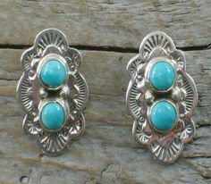 Native American Silver & Turquoise Concho Earrings
