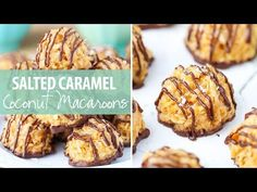 These Salted Caramel Coconut Macaroons are no bake and so easy to make! The perfect mix of coconut, caramel and chocolate! Coconut Caramel Recipe, Caramel Recipes, Candy Recipes, Baking Recipes, Cookie Recipes, Dessert Recipes, Coconut Cookies, Coconut Macaroons, Christmas Desserts