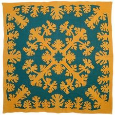 Antique Quilts, Vintage Quilts, Hawaiian Gardens, Hawaiian Quilts, Teal Background, Vintage Hawaiian, Hawaiian Art, Kona Cotton, Textiles