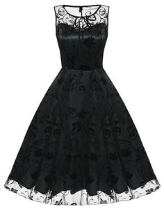 Retro Sleeveless Mesh Embroidery Flower Skull Cocktail Party Dress
