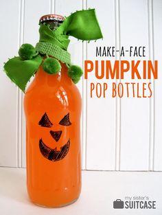 Pumpkin Pop Bottles! - Fill with orange water....glue shut