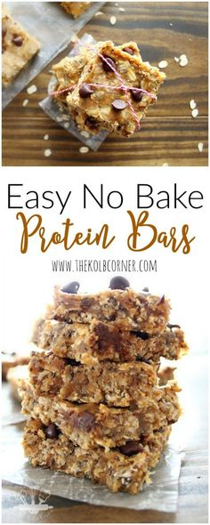Easy No Bake Protein Bars. A healthy, clean eating snack or pre-workout meal that is easy to grab-and-go. Pin this recipe to try later.