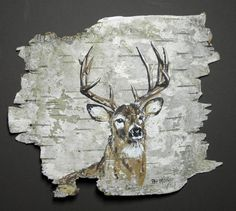 Buck deer hand painted on birch bark, in a 10 x 8 oak frame. Feather Painting, Pallet Painting, Pallet Art, Tole Painting, Painting On Wood, Birch Bark Crafts, Pallette, Wood Bark, Deer Art