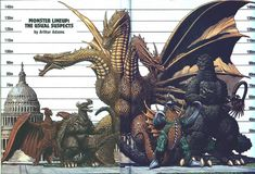 ... , Godzilla and Ghidorah were updated in the Heisei era, growing to the sizes on that chart, showing the largest versions of each monster as of the time it was made. Description from archive.4plebs.org. I searched for this on bing.com/images