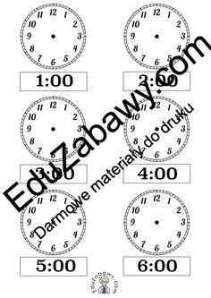 Prosta nauka zegara - dorysuj wskazówki. Karty pracy do druku za darmo Math Equations