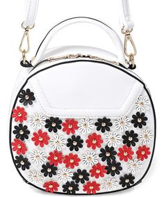 Quirky Circlular Round Floral Embellished Cross Body Bag White Womens Girls NEW Cross Body, Kitchen Dining, Fashion Backpack, Girl Outfits, Crossbody Bag, Shoulder Bag, Floral, Girls, Cute