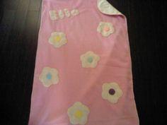 Fleece baby blanket; Pink cream flowers
