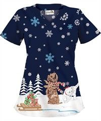 UA Precious Wonderland Navy Print Scrub Top Style #  HU195PWN $10.99