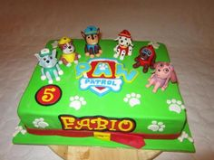 All green cake with white paw prints all over and then Marshall, Rocky, & Sky toys on top for each to play with!!!