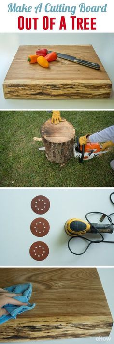 DIY your own custom cutting board out of a tree trunk! #woodworkingideas