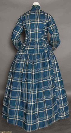 Indigo plaid print saque and petticoat dress, 1860s | In the Swan's Shadow