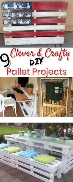 Pallet Ideas Such cute and UNIQUE Do It Yourself ideas of things to make with old pallet wood! Love the DIY flag made with an old pallet and the scarecrow. The DIY pallet wood desk is pretty clever too. DIY pallet projects and crafts ideas.