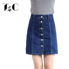 370780dc54c TC 2017 Summer Denim Skirts For Womens Fashion High Waist Single Button  Slim Jeans Mini Package Hip Skirts Big Size