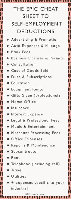 Tax Deductions | Write Offs| Self Employed| Entrepreneur| Creative Entrepreneur #onlinebusiness #followback #startup