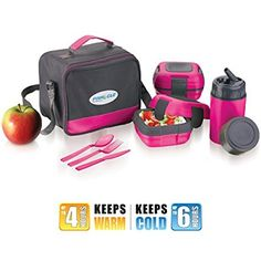 Lunch Box Bag Set for Adults and Kids ~ Pinnacle Insulated Leakproof Thermo Lunch Kit *Lunch Bag *Thermos *2 Lunch Container *Matching Cutlery ~ Pink$29.50