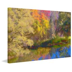 """Marmont Hill - """"Autumn on the Pond"""" Painting Print on (18 x 12)"""
