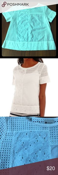 Eyelet & Floral embroidered white cotton tee Excellent condition breezy 100% t-shirt. Slightly sheer. Rough cut neckline. stylus Tops Blouses